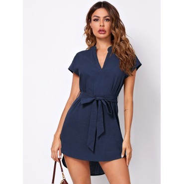 Belted High-Low Short Sleeve Mini Dress