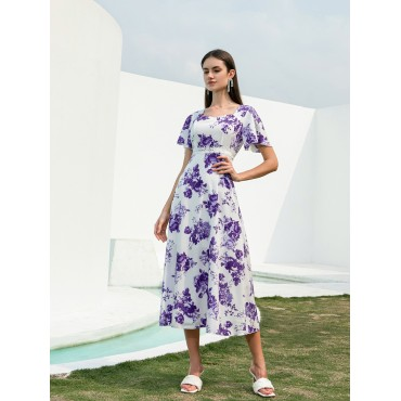 Allover Floral Print Sweetheart Neck A-line Dress