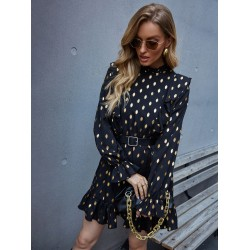 Gold Dot Ruffle A-line Dress Without Belted