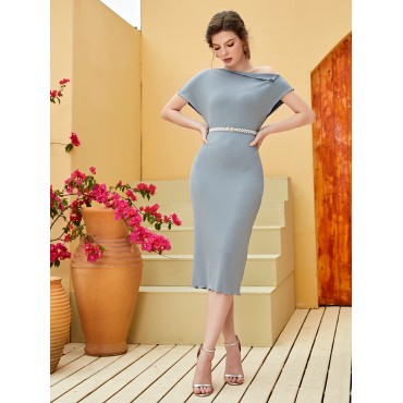 Asymmetrical Neck Belted Fitted Dress