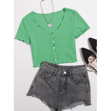 Buttoned Front Lettuce Trim Rib-knit Tee