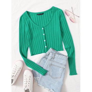 Buttoned Front Lettuce Trim Rib-knit Top
