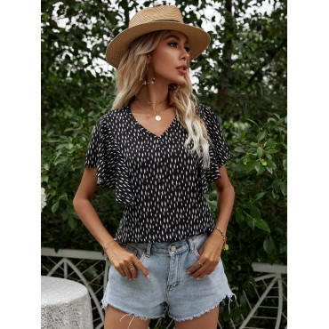 Allover Print Butterfly Sleeve Blouse