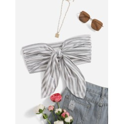 Striped Tie Front Tube Top