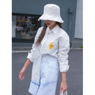 Slogan Graphic Pocket Patched Button Front Blouse